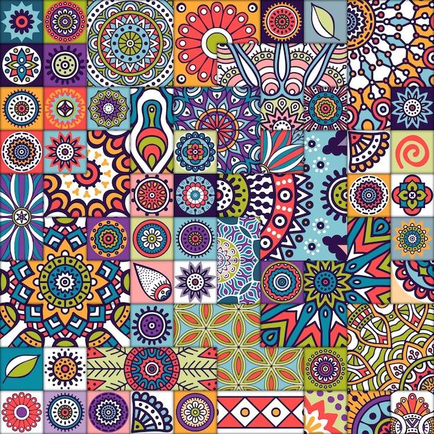 Марокканская плитка с мандалами Бесплатные векторы