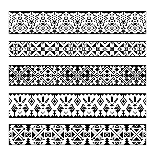 Ethnic pattern stripes. black and white tribal mexican geometric seamless pattern borders Premium Vector