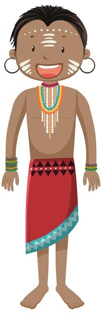 Popolo etnico delle tribù africane nel personaggio dei cartoni animati di abbigliamento tradizionale Vettore gratuito
