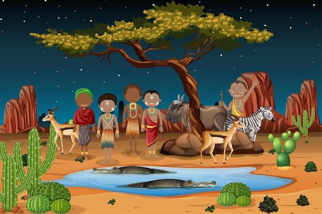 Popolo etnico delle tribù africane in abiti tradizionali in natura Vettore gratuito