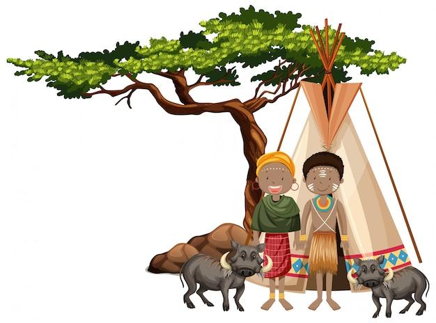 Persone etniche di tribù africane e animali selvatici Vettore gratuito