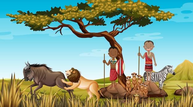 自然バックグラウンドで伝統的な服でアフリカの部族の民族の人々 無料ベクター
