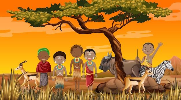 자연 배경에서 전통 의상을 입은 아프리카 부족의 민족 무료 벡터