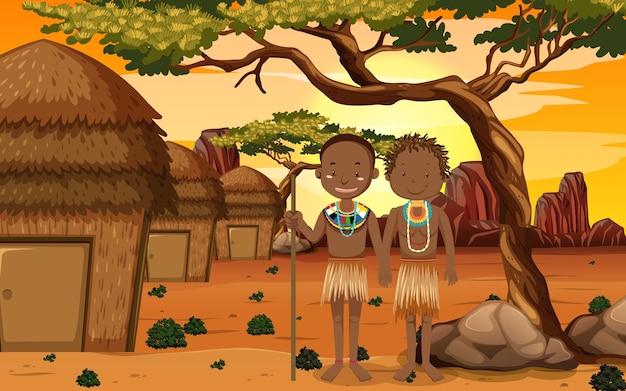자연 배경에서 전통적인 의류에 아프리카 부족의 민족 사람들 무료 벡터