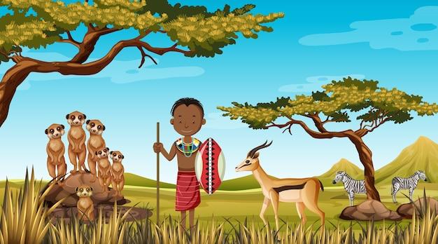 Этнические люди африканских племен в традиционной одежде на природе Бесплатные векторы