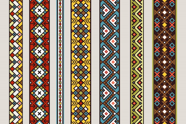 Ethnic ribbon patterns. vector mexican or tibetan seamless ribbon pattern set with carpet design Premium Vector