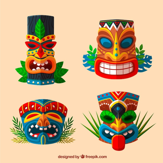 Этнический набор забавных тики-масок Бесплатные векторы