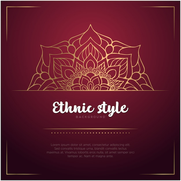 Ethnic style background with mandala and text template, red and golden color Free Vector