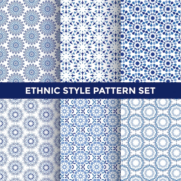 Ethnic style pattern set Free Vector