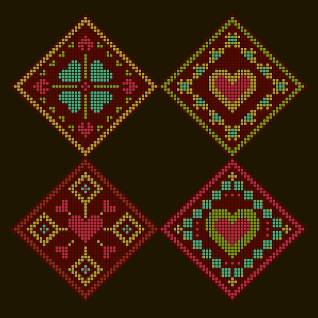 Ethnic style romantic colorful embroidered background. rhombus cross-stitch pattern. Premium Vector