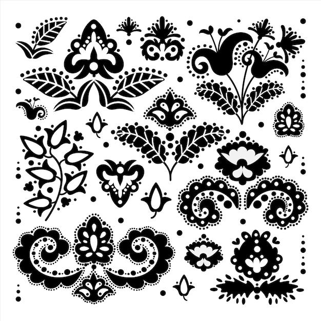 Ethnic tatar oriental doodle retro ornament elements vector illustration set for print Premium Vector