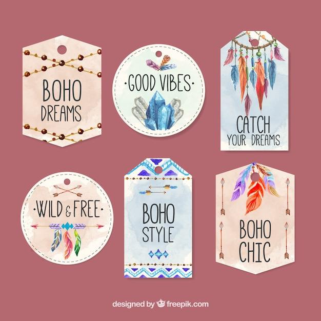 Ethnic watercolor labels Free Vector