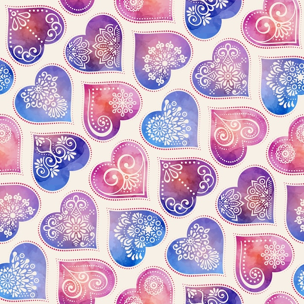 Ethnic watercolor pattern with hearts Free Vector