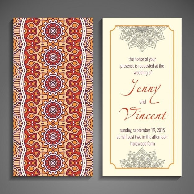 Ethnic Wedding Invitation With Abstract Forms Free Vector  Invitation Forms
