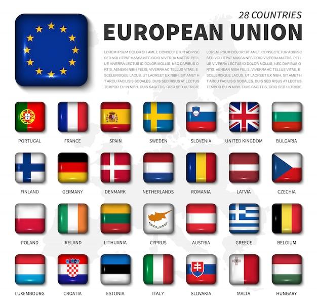 欧州連合(eu)および加盟国の旗。 28カ国の協会。丸い角の光沢のある正方形ボタンとヨーロッパの地図の背景。ベクター Premiumベクター