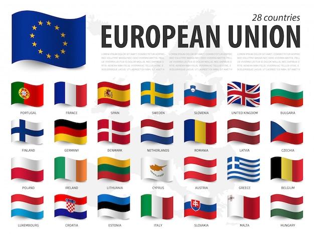 欧州連合の旗(eu)およびヨーロッパの加盟国地図旗のデザインを振っています。 Premiumベクター