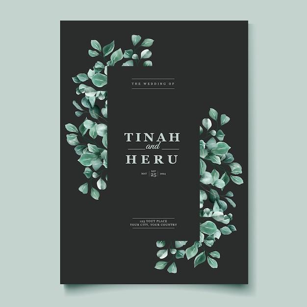 Eucalyptus watercolor wedding invitation card template Free Vector