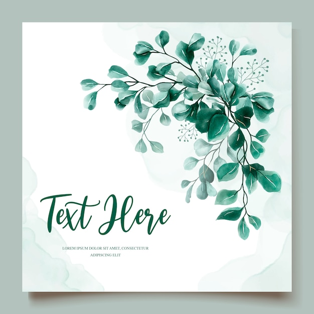 Eucalyptus watercolor wedding invitation card template Free Vector