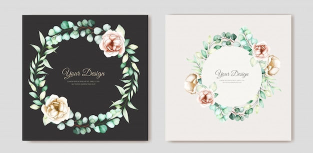 Eucalyptus wedding invitation set Free Vector