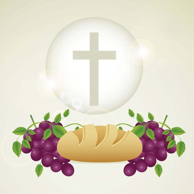 Eucharistic sacrament Premium Vector