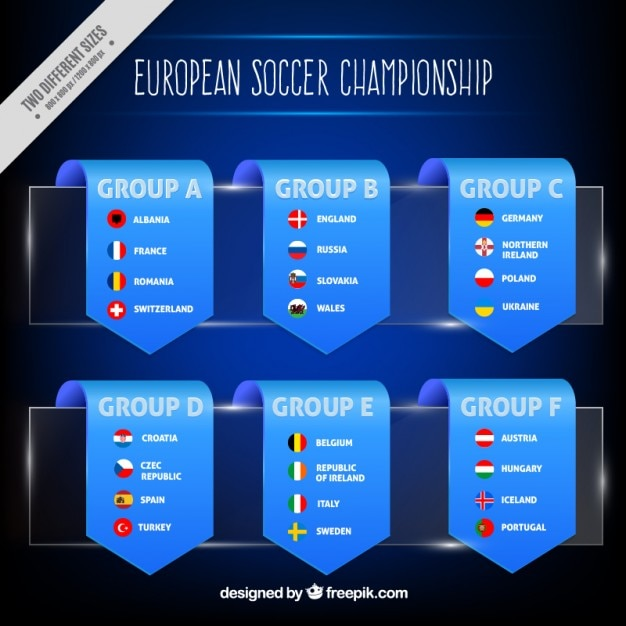 Euro 2016 classification in ribbons Free Vector