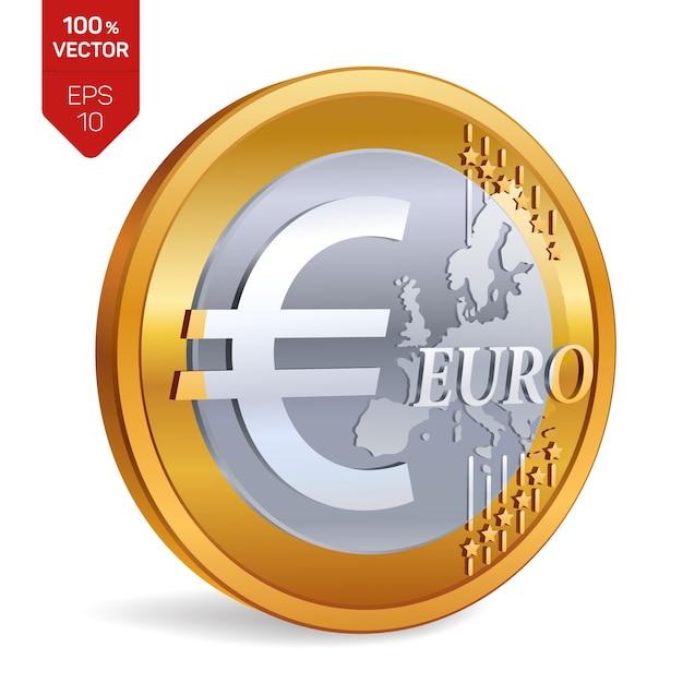 Euro coin. 3d physical coin isolated. Premium Vector