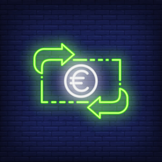 Euro exchange rate. Neon style illustration. Convert, income, transfer. Currency banner. Free Vector