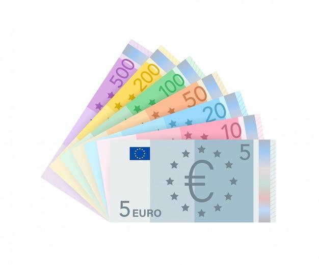 Евро деньги банкноты. плоский евро за бумажные деньги. бизнес-концепция иллюстрация запаса. Premium векторы