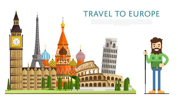 有名なアトラクションを備えたeuropバナーへの旅行 Premiumベクター