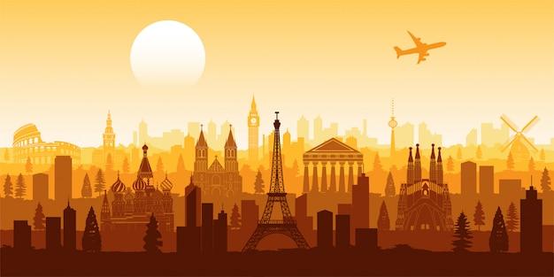 Europe famous landmark silhouette style Premium Vector