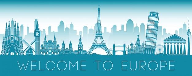 Europe famous landmark Premium Vector