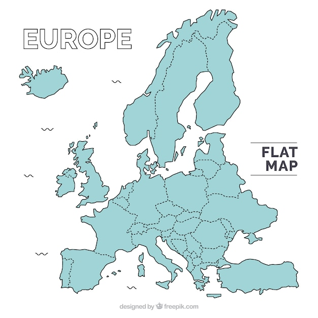 Europe flat map Vector Free Download