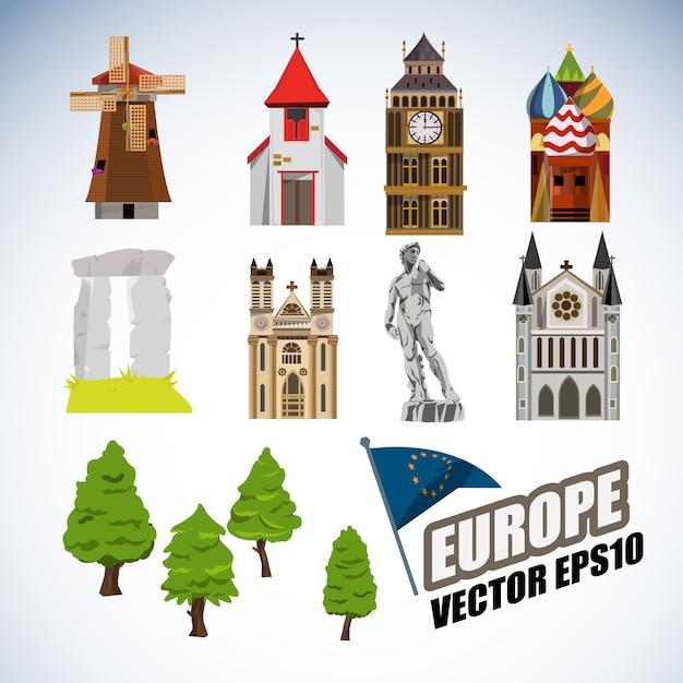 Europe landmarks collection. Premium Vector