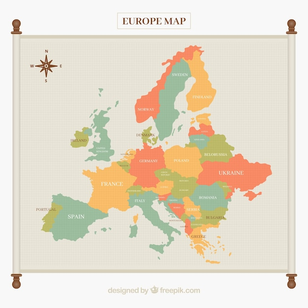 Europe map in soft tones Free Vector