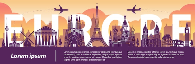 Europe top famous landmark silhouette style,text within Premium Vector
