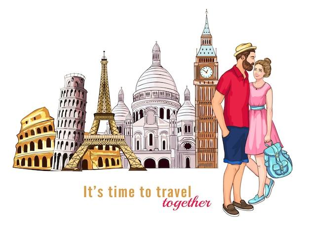 Composizione di caratteri del tour di viaggio in europa Vettore gratuito