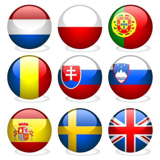 Кнопки флаг европы Premium векторы