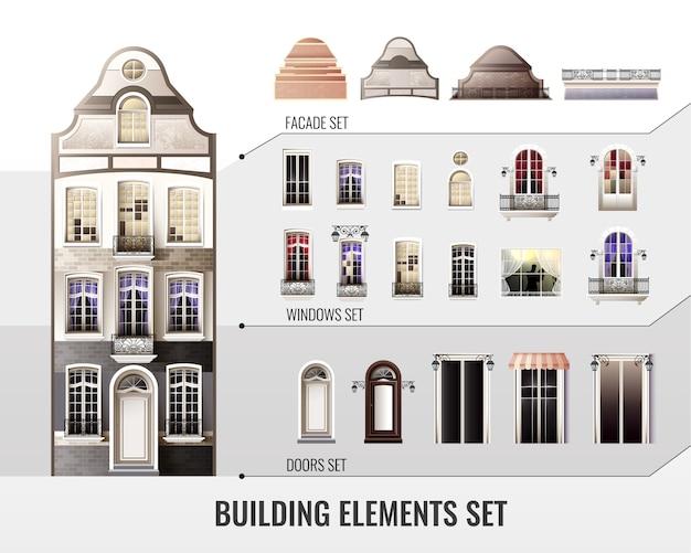 European building elements set Free Vector