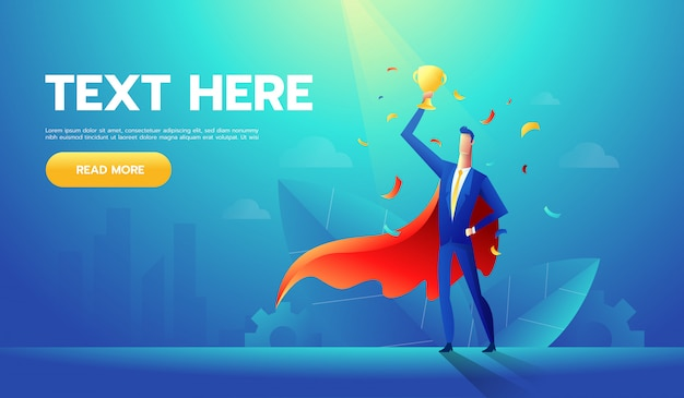 European businessman with cup on hand,winner or leader male character Premium Vector