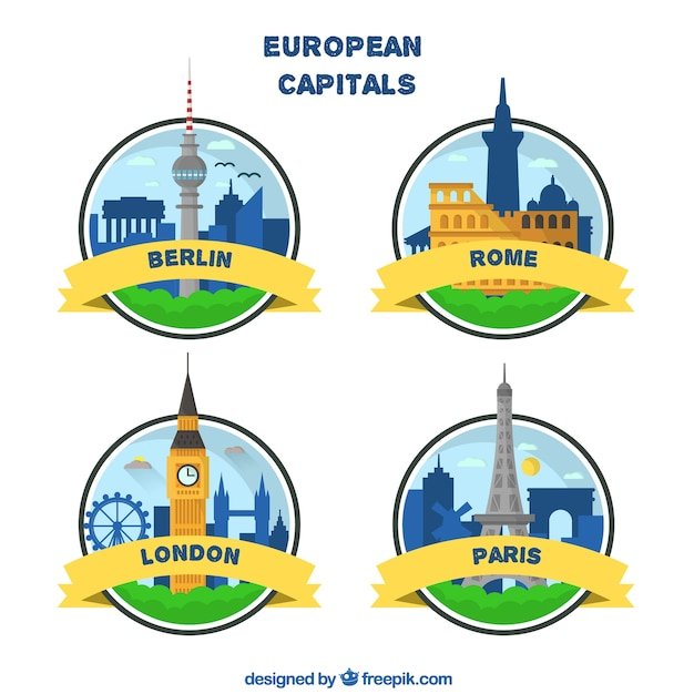 European capitals badge collection Free Vector