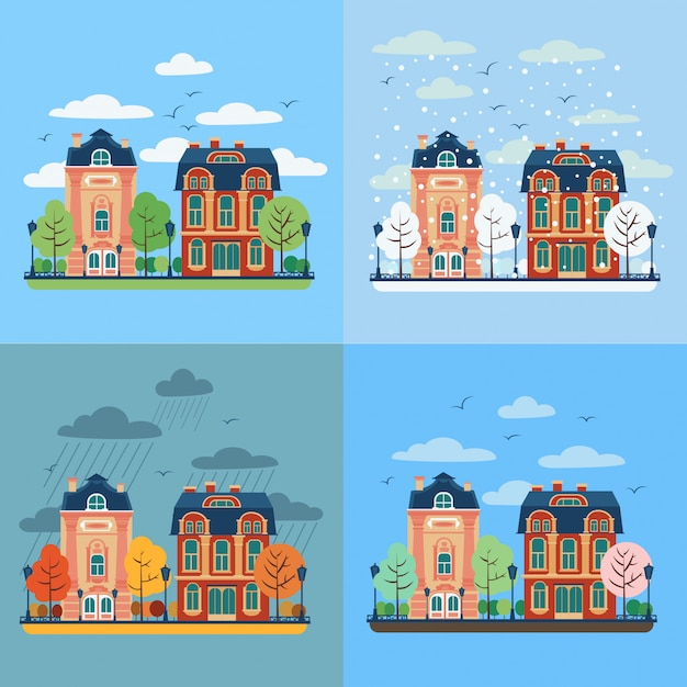 European city urban landscape with houses Premium Vector