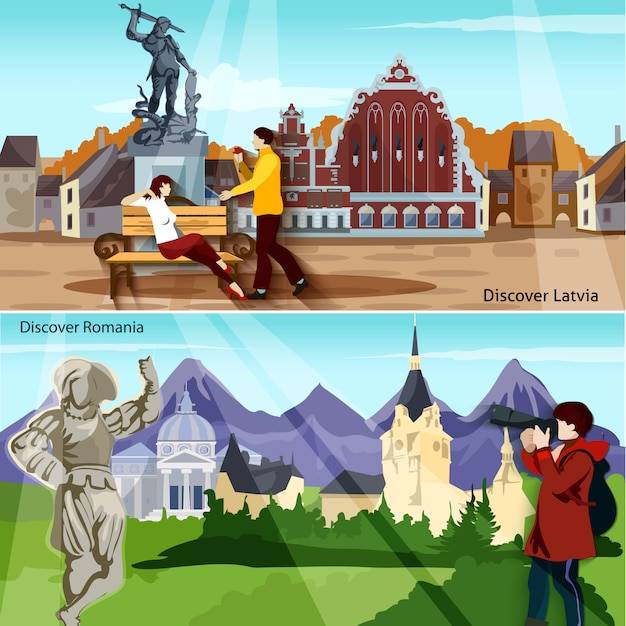 European countries banner set Free Vector
