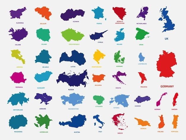 european countries in outlines vector free download