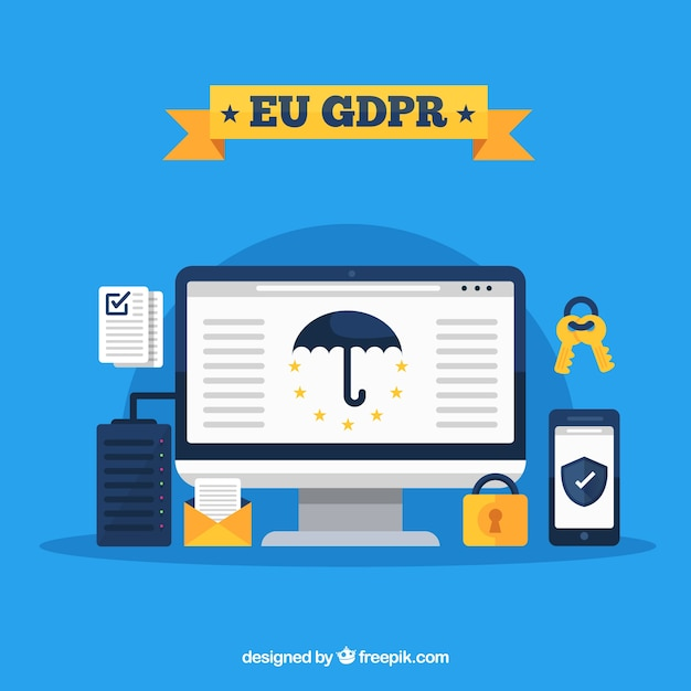 European gdpr concept with flat design Free Vector