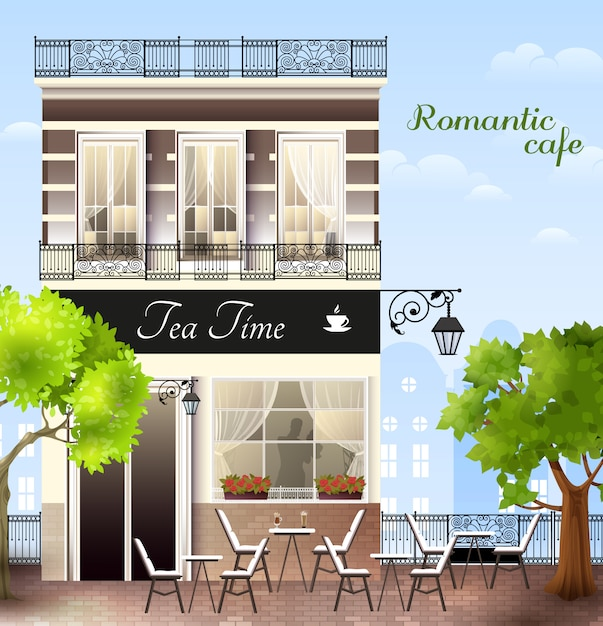 European house with cafe illustration Free Vector