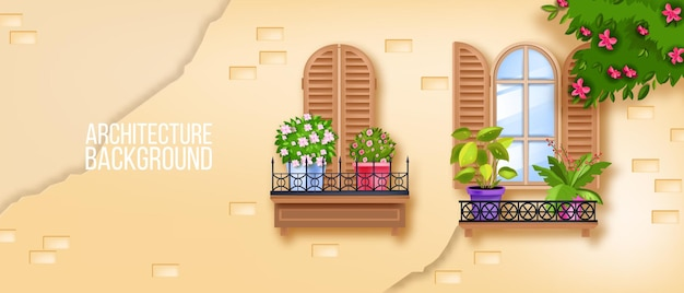 유럽의 구시 가지 창문, 벽돌 벽, 집 식물, 나무 셔터, 꽃 나무, 담쟁이. 프리미엄 벡터