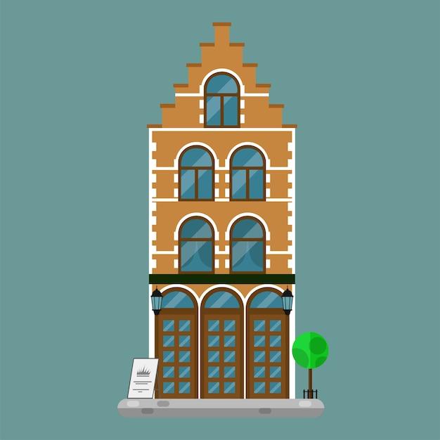 유럽의 오래된 타운 하우스 프리미엄 벡터