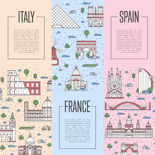 European travel tour posters in linear style Premium Vector