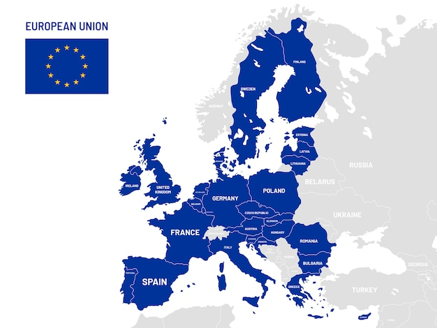 European union countries map. eu member country names, europe land location maps illustration Premium Vector