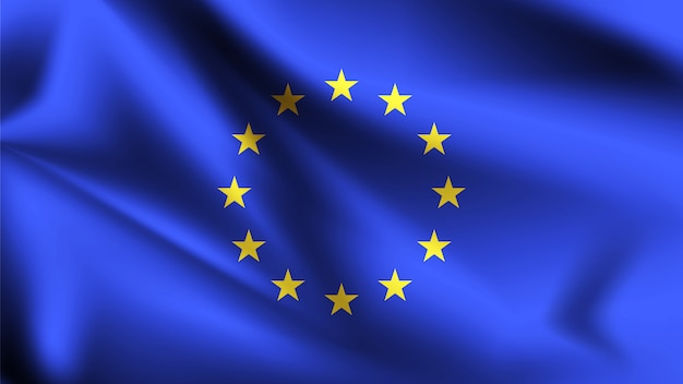 European union flag blowing in the wind. part of a series. european union waving flag. Premium Vector